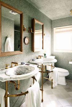 Bathroom Inspiration: Maison Valentina Presents The Perfect Hues For The 2019 Summer - Covet Edition Bathroom Wall Decor, Bathroom Interior Design, Small Bathroom, Bathroom Marble, Bathroom Green, Bathroom Ideas, Interior Ideas, Bathroom Inspo, Bathroom Cabinets