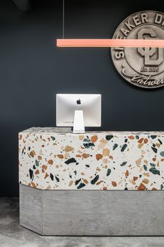 Marmoreal counter with a terracota lamp by Hand & Eye Studio. Marmoreal counter with a terracota lamp by Hand & Eye Studio. Bureau Design, Workspace Design, Office Workspace, Office Shelf, Office Den, Design Offices, Office Spaces, Work Spaces, Small Office