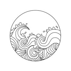 Waves line drawing Wave Drawing, Doodle Drawing, Doodle Art, Ocean Drawing, Mandala Drawing, Camera Drawing, Inka Tattoo, Surf Tattoo, Tumblr Transparents