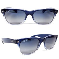 Ray Ban Wayfarer - Blue Ray Ban New Wayfarer RB2132 822/78 In Blue Gradient on Transparent Crystal/Polarized Blue Grey Ray-Ban Accessories Glasses