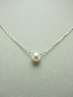 Simple Small Freshwater Pearl Silver Necklace...This is the perfect necklace to wear everyday!