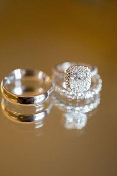 Diamond Wedding 14K White Gold Over Trio Band His & Hers Engagement Ring Set #RiddhiDiamonds #TrioRingSet