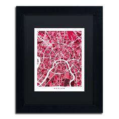 Michael Tompsett 'Moscow City Street Map IV' Matte, Framed Canvas Wall Art