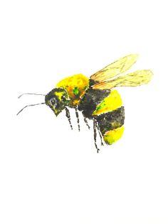 Honingbij schilderij-Bee painting minimalist art bee
