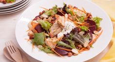 The name says it all – this is our go-to chicken salad when barbecue season comes around! We've added four bean mix to give the dish another delicious texture. This is a great recipe to double up and serve to guests when entertaining. Lunch Recipes, Great Recipes, Cooking Recipes, Summer Chicken, Lettuce Leaves, Toasted Almonds, Serving Plates, Beetroot, The Dish