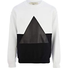 Black and white two-tone triangle sweatshirt - sweatshirts - hoodies / sweatshirts - men (£30.00) - Svpply