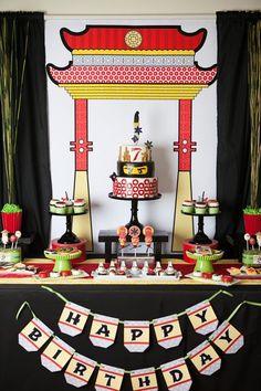 Amazing dessert table from a boy's Lego Ninjago birthday party.