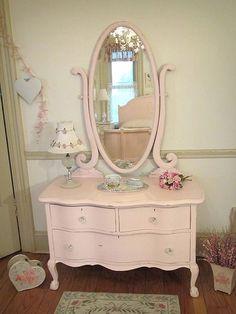 Romantic Pink Antique Dresser with Oval Harp Mirror