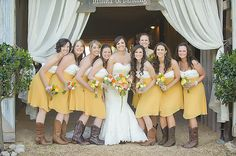 Sunny Barn Wedding by Soli Photography « Southern Weddings Magazine // Curated/Coordinated/Styled by Homespun Parties + Events Country Bridesmaid Dresses, Yellow Bridesmaid Dresses, White Bridesmaid Dresses, Brides And Bridesmaids, Bridesmaid Ideas, Wedding Cowboy Boots, Dresses With Cowboy Boots, Rustic Wedding Inspiration, Shower Inspiration