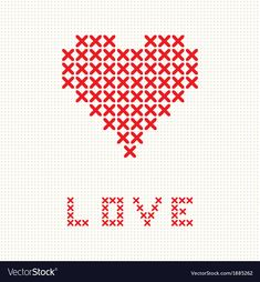 Valentines card with embroider heart Royalty Free Vector - Valentines card with embroider heart Royalty Free Vector Valentines card with embroider heart Royal - Cross Stitch Beginner, Tiny Cross Stitch, Cross Stitch Heart, Cross Stitch Cards, Simple Cross Stitch, Cross Stitch Borders, Cross Stitch Designs, Cross Stitching, Cross Stitch Patterns