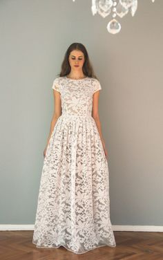 White organza maxi dress with grey lining by NelliUzun on Etsy
