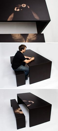 """Linger A Little Longer"" Table by Jay Watson, uses a thermochromic finish to respond to the heat of objects and people, bringing to light the impact of the user on his furniture.    I'd love to do an installation with this!"