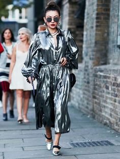 wedding guest outfits: wear a metallic dress as a real showstopper