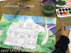 Colonial and Victorian Homes art lesson. Connect with folk art and Grandma Moses.