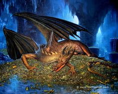 A Conversation with Smaug by Ted Nasmith - Tolkien Library Tolkien Books, Jrr Tolkien, Narnia, Illustrations, Illustration Art, Smaug Dragon, Hobbit 1, Here Be Dragons, Dark Lord