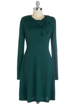 Underpinnings of Style Dress - Mid-length, Knit, Green, Solid, Bows, Casual, A-line, Long Sleeve, Better, Crew