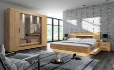 Schlafzimmer in Grandson Oak Nachbildung, Drehtürenschrank B: c Divider, Bench, Storage, Room, Furniture, Design, Home Decor, Led, Purse Storage