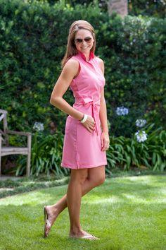 Oxford Ruffle Collar Dress in Flamingo