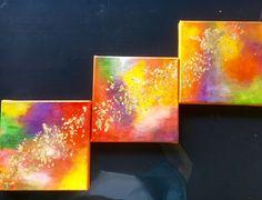 Triptyque Peinture abstraite - gold colors - acrylique sur toile de coton 20x20x3 : Peintures par magaline-arts