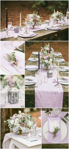 Purple wedding palette, reception in the woods, rustic table, candlesticks, lantern, lavender runner, place setting, table décor // Michelle Chang Photography