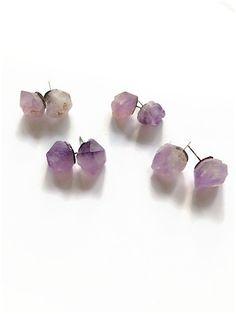 Raw Amethyst Stud Earrings Amethyst Gemstone Earrings Purple Amethyst Chunk Earrings Amethyst Earrings Amethyst Post Earrings (E305) by JulemiJewelry on Etsy