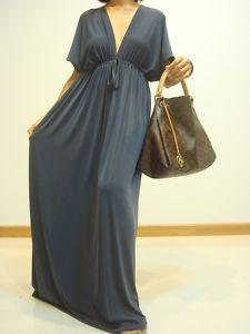 Vtg Gray Party Long Kimono Maxi Dress..I have in red silk from H & M.