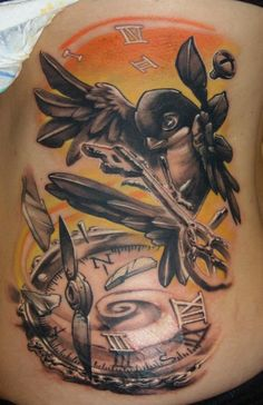 A swallow carries a key above a broken compass in this new school tattoo design by Gábor Jelencsik