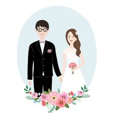Happily ever after Creative Wedding Invitations, Personalised Wedding Invitations, Wedding Invitation Cards, Wedding Illustration, Couple Illustration, Graphic Illustration, Wedding Card Design, Wedding Art, Wedding Couples