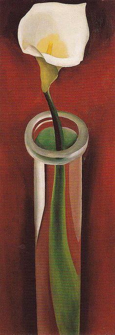 Georgia O'Keeffe. Calla Lilies In Tall Glass 1923 No 2