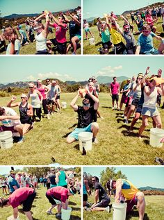 Pre-wedding field day to introduce all of the friends. This is awesome. fun event ideas, how to be a bridesmaid, weddings, prewed field, wedding meet the bridesmaids, bridesmaids vs groomsmen, parti, fields, wedding field day
