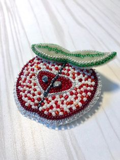 Items similar to Apple Brooch Pin Red Green Bead Embroidery fruit Rhinestones Relationship Love Bijoux Presents couture accessories Gift for wife Mother day on Etsy Beaded Brooch, Brooch Pin, Crochet Earrings, Red Apple, Apple Pin, Couture Accessories, Christmas Gifts For Women, Brooches Handmade, Gifts For Wife