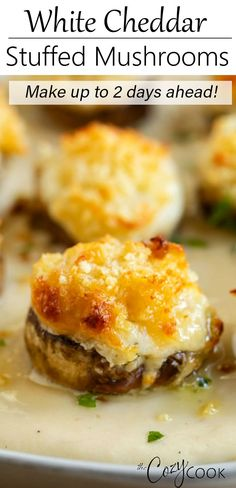 Sep 2019 - White Cheddar Stuffed Mushrooms are an easy make-ahead appetizer idea! They taste just like the Longhorn restaurant with a golden Parmesan crusted topping and flavorful white cheddar sauce. Easy Make Ahead Appetizers, Appetizer Recipes, Easy Meals, Vegetarian Appetizers, Yummy Appetizers, Dinner Recipes, Vegan Quesadilla, Longhorn Restaurant, Restaurant Restaurant