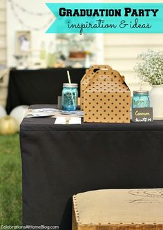 SHABBY CHIC GRADUATION PARTY IDEAS -- love this how it's got cute lunch boxes, and the photo circles are adorable