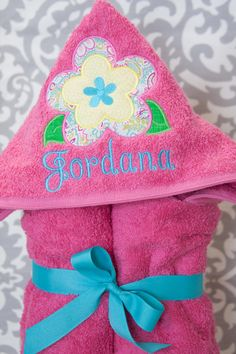 Kid Hooded Towel  Flower  Personalized  by BluePeonyStitches