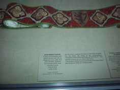 Inscribed Band  Linen embroidered with metal thread and silk in diagonal, tent, plait, and stem stitches, padded buttonhole stitch and couched work. English. 1290-1340.