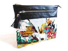 tapestry clutch bag ... Pochette cuir canevas La Camargue by JosieLaBaronne on Etsy, €110.00
