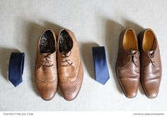 Brown shoes and navy ties for the groomsmen | Real weddings | The Pretty Blog
