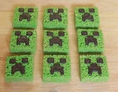 Minecraft Creeper Rice Krispy Treats - foodista.com --- my kids want to make these!!