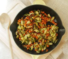 Roasted brussel sprout, bacon, sweet potato and apple hash