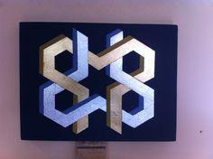 Geométrico 632. 40 x 30 cm. Acrílico y hojilla oro y plata.