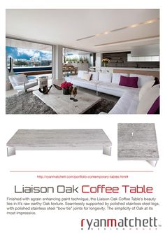 Cape Town based Industrial Designer Ryan Matchett, specializes in creating a variety of furnishings and décor accessories for lodges, hotels, restaurants and private homes both locally and internationally. Oak Coffee Table, Painting Techniques, Lodges, Industrial Design, Decorative Accessories, Dining Table, House Design, Contemporary, Furniture