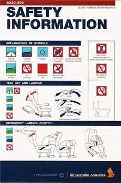 Singapore Airlines A330-300 Safety Card
