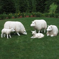 Life Size Sheep & Lamb Set - 5 Piece-Amazing Sheep and Lamb Group with three sheep and two lambs from our Heimex Portraits of Animals.  Constructed of fiberglass and painted by hand, these animal statues are light enough to move yet strong enough for outdoor use. $1,299.00 Dog Garden Statues, Life Size Statues, Sheep And Lamb, Animal Statues, Christmas Night, St Francis, Outdoor Christmas Decorations, Toy Soldiers, Lambs