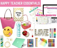 A Happy Teacher Essentials Guide.  This teacher thought of everything!   I want it all.  She also included links in her blog post so you can check everything out and the prices are reasonable!