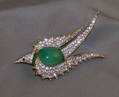 Signed Jomaz Jeweled Deco Bird Brooch - Faux Emerald Cabochon Jelly Belly & Pave.
