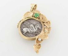 Estate 14 Karat Yellow Gold Diamond Emerald Ancient Roman Coin Pendant Fine Jewelry on Ruby Lane