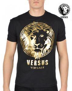 Versus Versace Gold Foil Lion Logo T-Shirt - Black