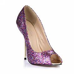 Amazon.com: Glitter Dress Peep Stiletto Pumps MULTI COLORS Fashion Women High Heels DolphinGirl D'Orsay Shoes SM00190: Shoes