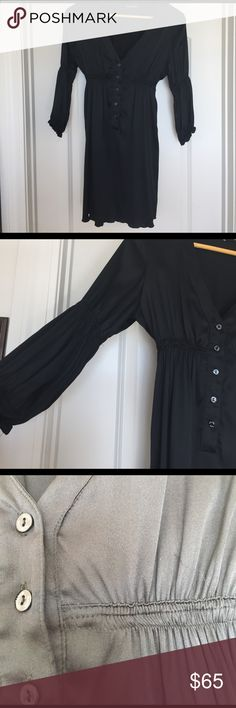 Beautiful black satin dress. Beautiful black satin dress. Been worn a handful of times. There is  snag on left breast and pulling on the elastic under left breast. shown in one picture. Extremely lightweight and three-quarter length sleeve's flavio castellani Dresses Mini