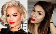 Rita Ora Makeup Red Lips & Winged Liner | The Voice UK 2015 & Golden Glo...